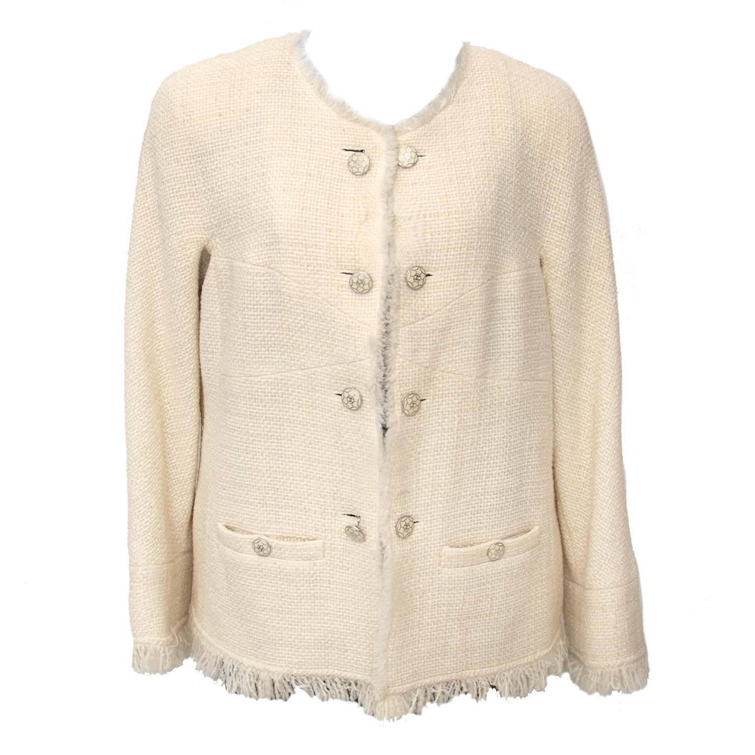 Chanel Ecru Wool Bouclé Blazer