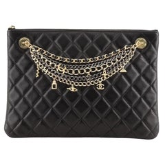 Chanel Egyptian Amulet O Case Clutch Quilted Lambskin Medium