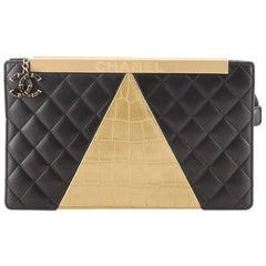 Chanel Egyptian Clutch Crocodile Embossed Calfskin and Quilted Lambskin