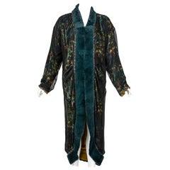 Chanel Elaborate Multicolored Silk Chiffon Velvet Trim Beaded Evening Coat, 1997