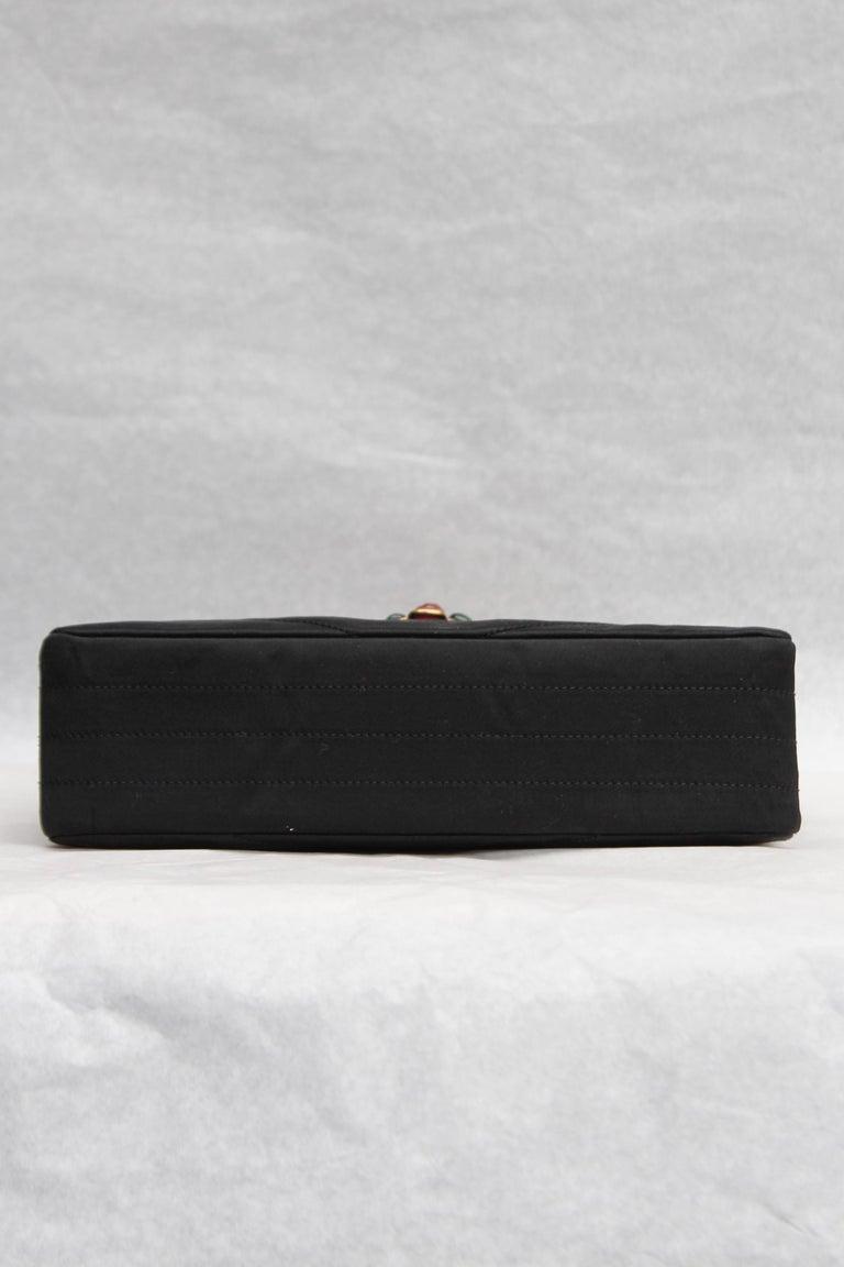Chanel elegant evening jewel bag in black satin For Sale 1