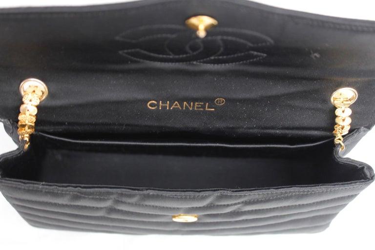 Chanel elegant evening jewel bag in black satin For Sale 4