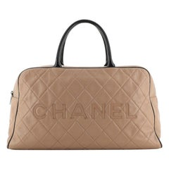 Chanel Embossed Logo Bowler Bag Quilted Leather Large