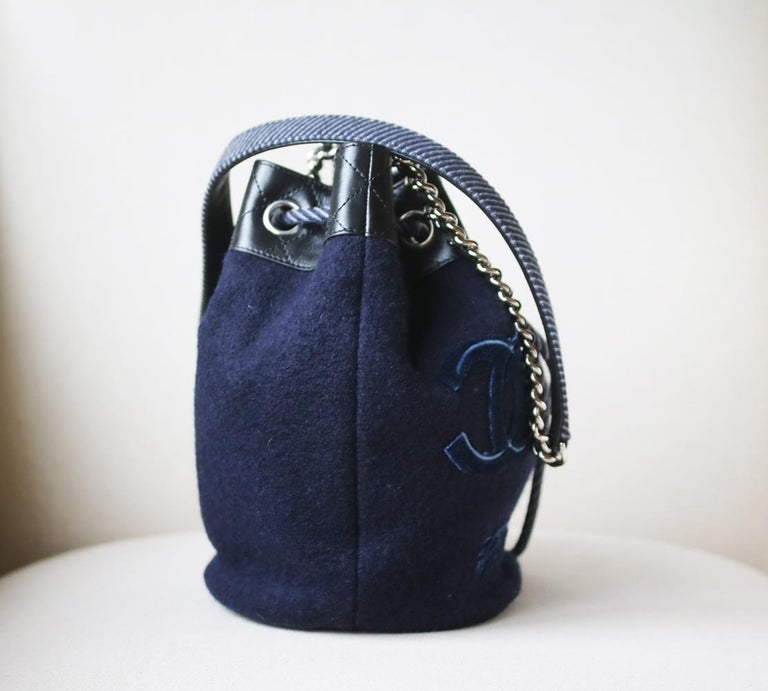 Black Chanel Embroidered Wool Drawstring Bucket Bag  For Sale