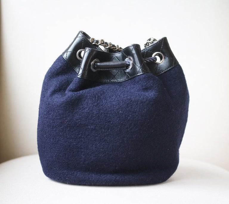 Chanel Embroidered Wool Drawstring Bucket Bag  In New Condition For Sale In London, GB