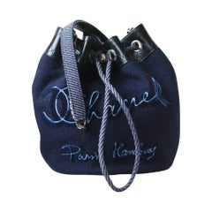 Chanel Embroidered Wool Drawstring Bucket Bag
