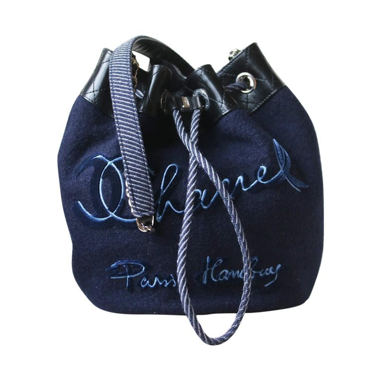 Chanel Embroidered Wool Drawstring Bucket Bag  For Sale