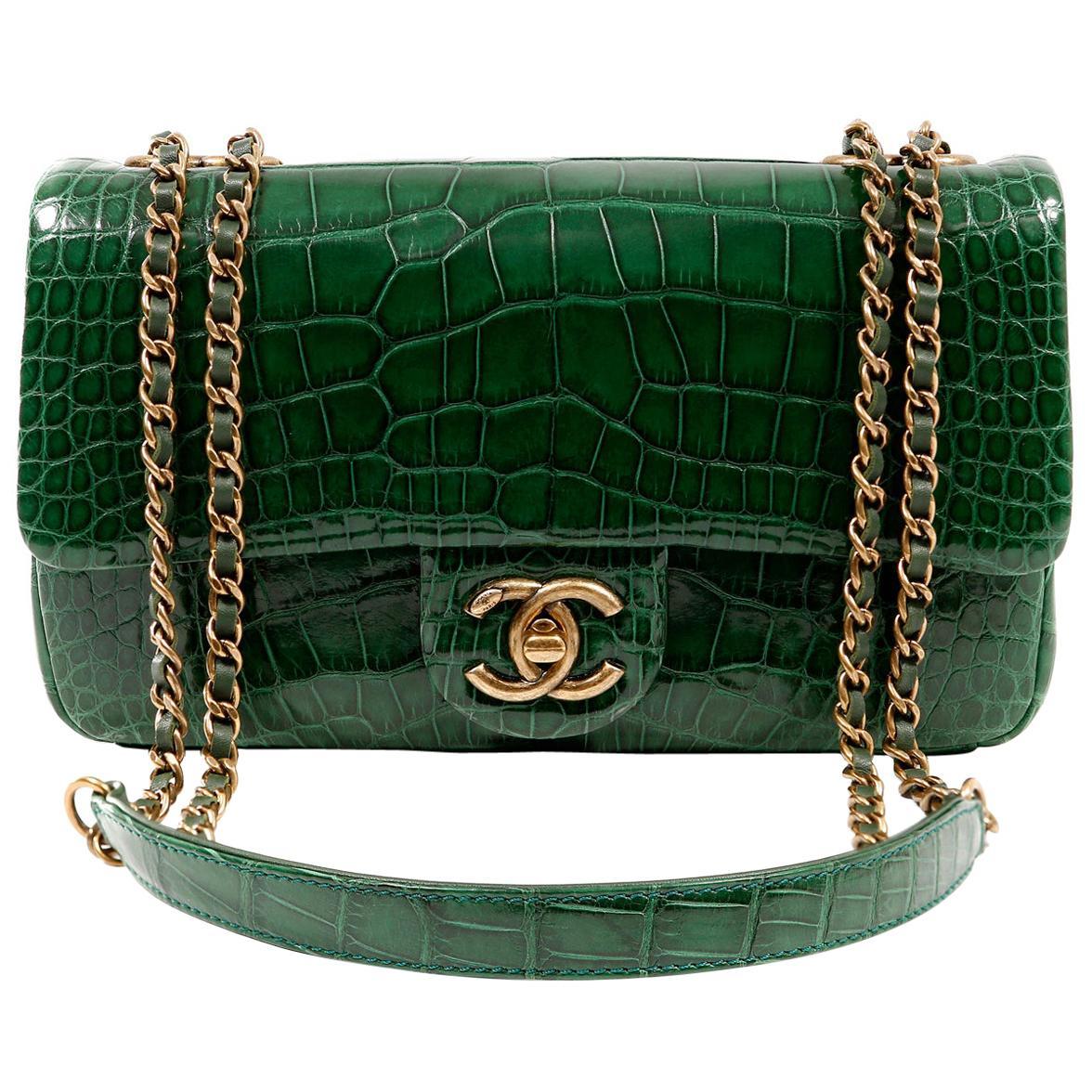 Chanel Emerald Green Alligator Medium Classic Flap Bag