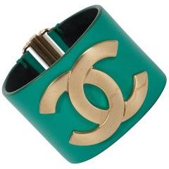 Chanel Emerald Green Leather Cuff Bracelet