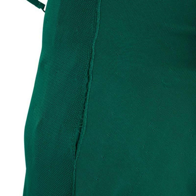 Chanel Emerald Green Perforated Mesh Knit Back Tie Detail Draped Dress S For Sale 6