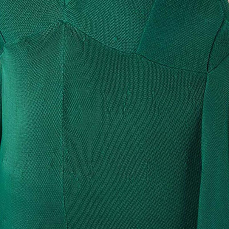 Chanel Emerald Green Perforated Mesh Knit Back Tie Detail Draped Dress S For Sale 7