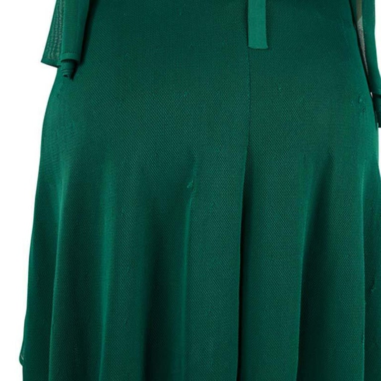 Chanel Emerald Green Perforated Mesh Knit Back Tie Detail Draped Dress S For Sale 8