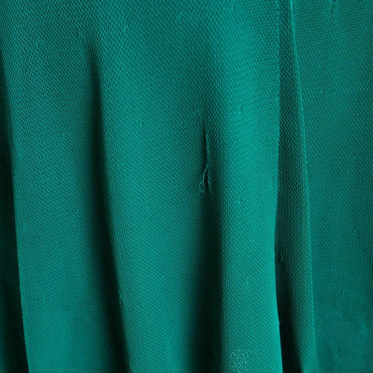 Chanel Emerald Green Perforated Mesh Knit Back Tie Detail Draped Dress S For Sale 1