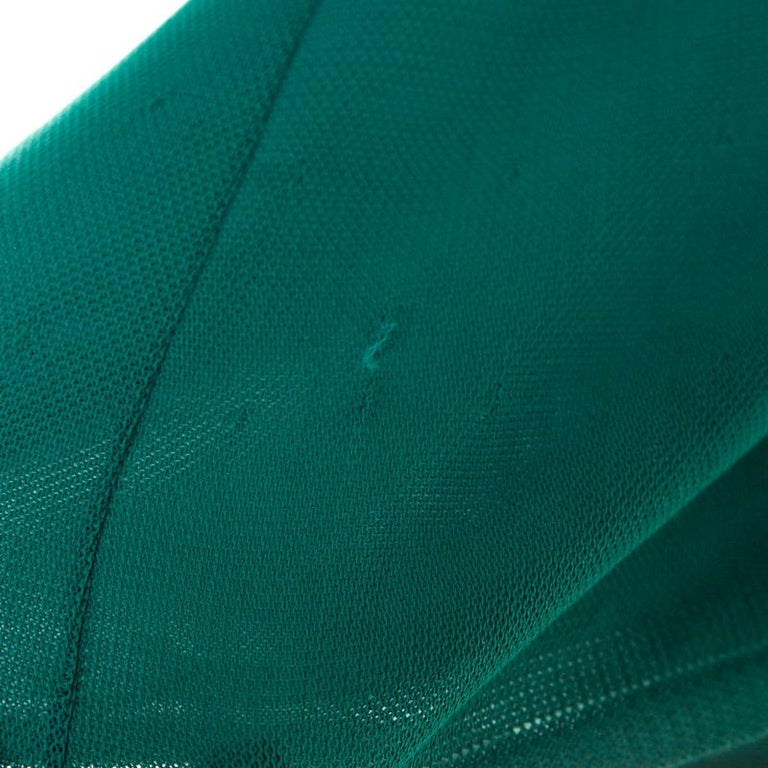 Chanel Emerald Green Perforated Mesh Knit Back Tie Detail Draped Dress S For Sale 2
