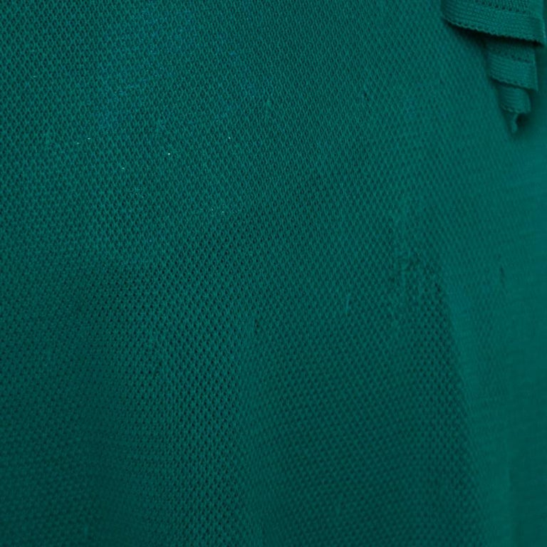 Chanel Emerald Green Perforated Mesh Knit Back Tie Detail Draped Dress S For Sale 4