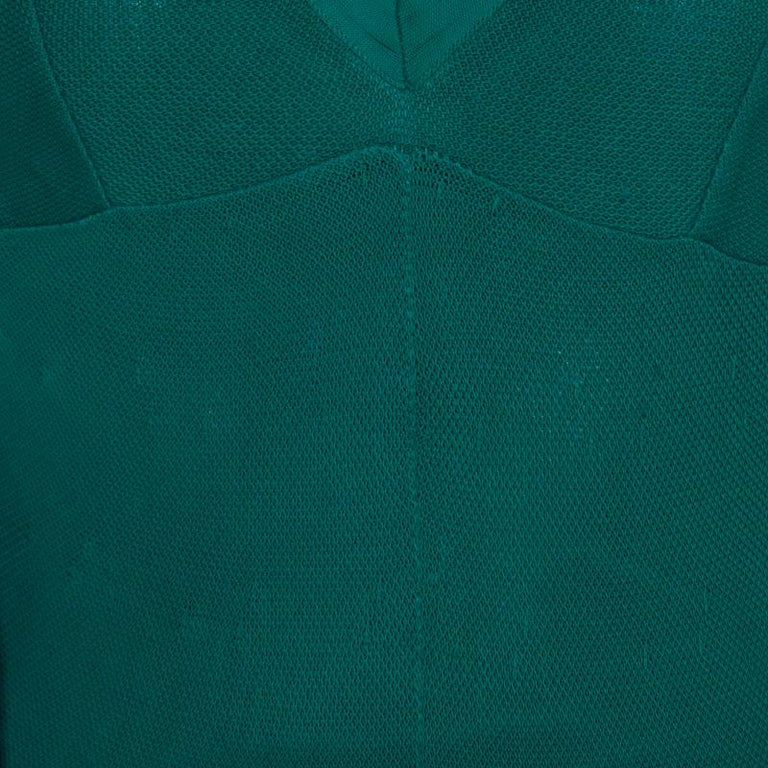 Chanel Emerald Green Perforated Mesh Knit Back Tie Detail Draped Dress S For Sale 5