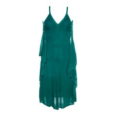 Chanel Emerald Green Perforated Mesh Knit Back Tie Detail Draped Dress S