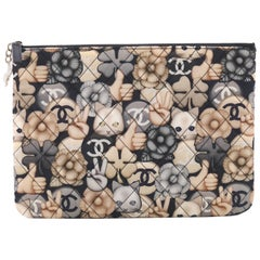 Chanel Emoticon O Case Clutch Quilted Printed Nylon Medium