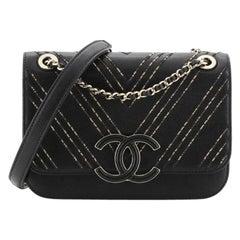 Chanel Enamel CC Flap Bag Beaded Chevron Sheepskin Medium