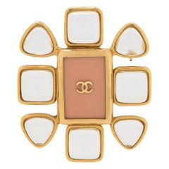 Chanel Enamel CC Flower Brooch