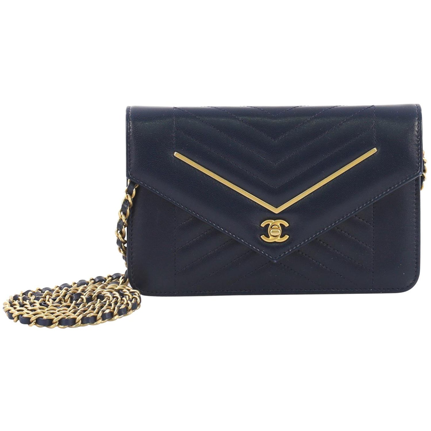 416819712faa Chanel Envelope Wallet on Chain Chevron Lambskin For Sale at 1stdibs