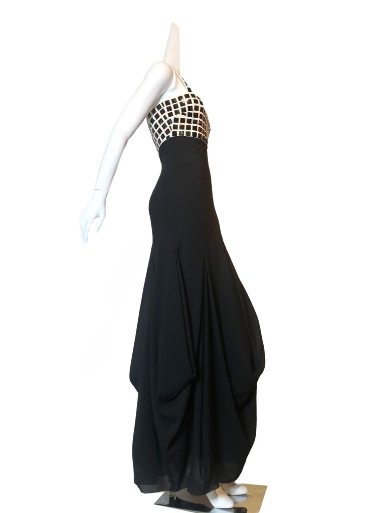 Black Chanel Evening Dress with Mylar Tiled Bodice and Draped Hem For Sale