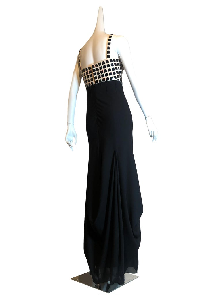Chanel Evening Dress with Mylar Tiled Bodice and Draped Hem In Good Condition For Sale In San Francisco, CA