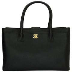 CHANEL Executive Cerf Tote Black Calfskin with Gold Hardware 2013
