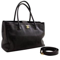 CHANEL Executive Tote Caviar Shoulder Bag Handbag Black Gold Strap