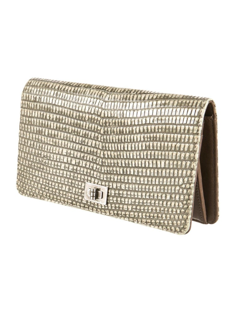 Brown Chanel Exotic Lizard Skin Leather 2.55 Silver Envelope Evening Wallet Clutch Bag