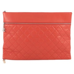 Chanel Expandable O Case Clutch Quilted Lambskin Large