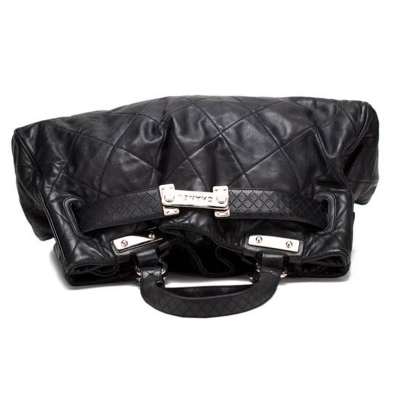 Chanel Expandable Strap Shopping Satchel Limited Edition Black Calfskin Tote For Sale 1