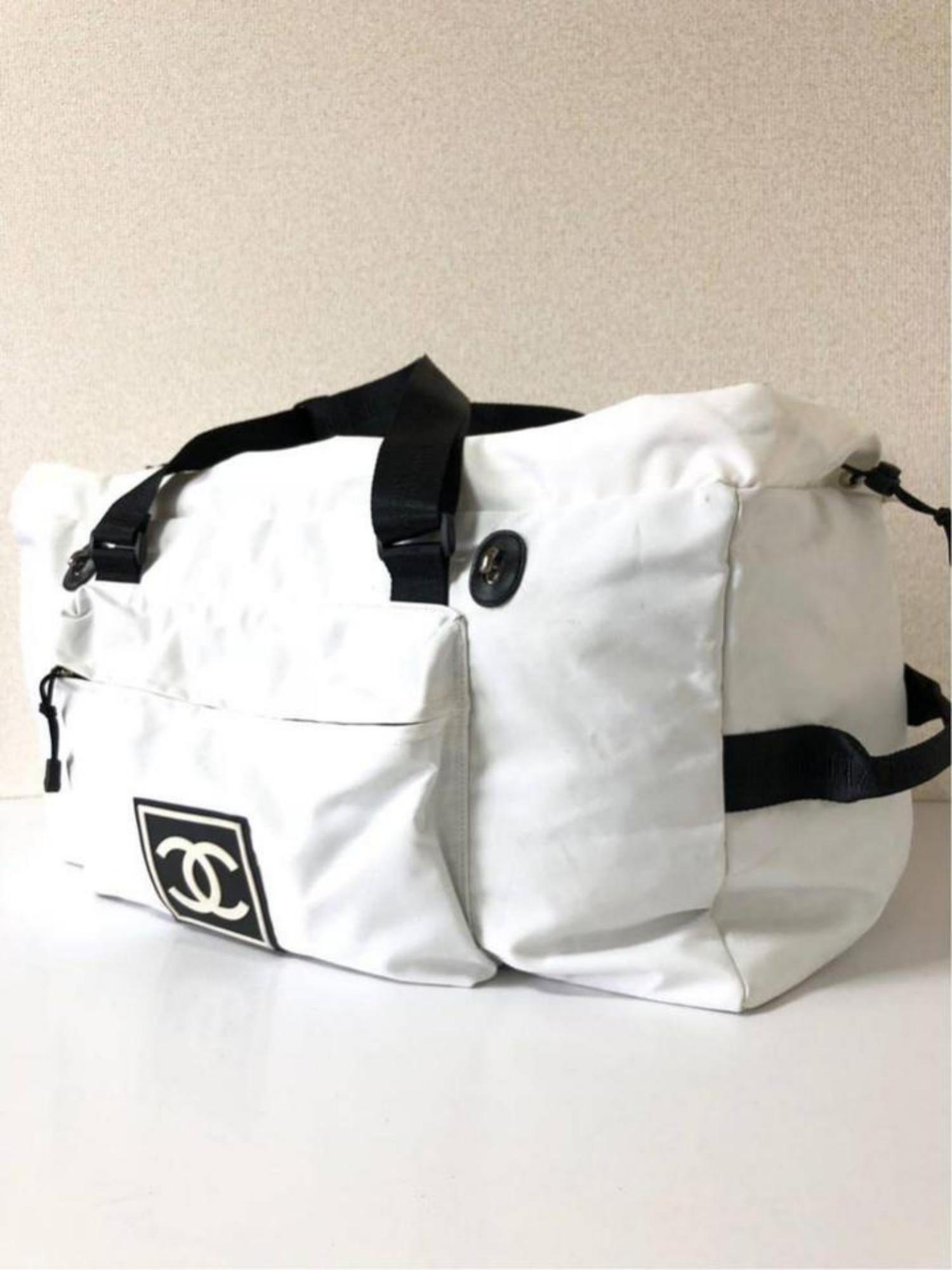 b5a1f97d30cb Chanel Extra Large Cc Sports Logo Boston Duffle 232511 White Nylon Travel  Bag at 1stdibs