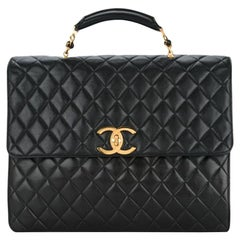 Chanel extra large quilted lambskin briefcase with gold CC clasp