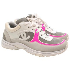 Chanel Fabric and Suede CalfSkin Sneakers with Neon Pink Trim 39.5
