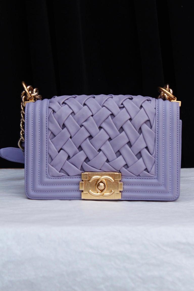 Gray Chanel fabulous mauve leather bag, model Boy For Sale