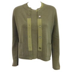 Chanel Fall 1998 Olive Cashmere Twinset With Color Blocked Placket and Collar 40