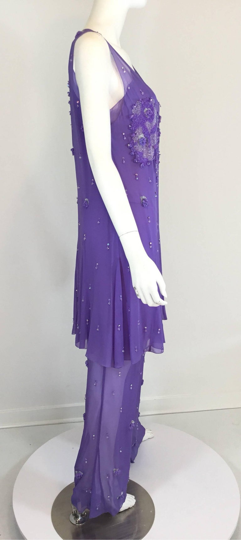 Purple Chanel Lavender Silk Beaded Jumpsuit and Tunic Set, Ready to Wear Fall 2000   For Sale