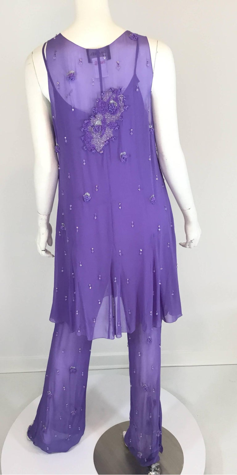 Chanel Lavender Silk Beaded Jumpsuit and Tunic Set, Ready to Wear Fall 2000   In Excellent Condition For Sale In Carmel by the Sea, CA