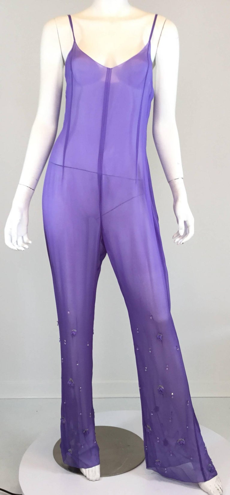 Women's Chanel Lavender Silk Beaded Jumpsuit and Tunic Set, Ready to Wear Fall 2000   For Sale
