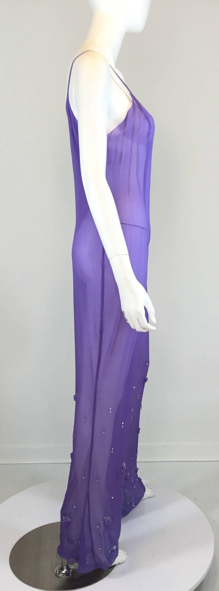 Chanel Lavender Silk Beaded Jumpsuit and Tunic Set, Ready to Wear Fall 2000   For Sale 1