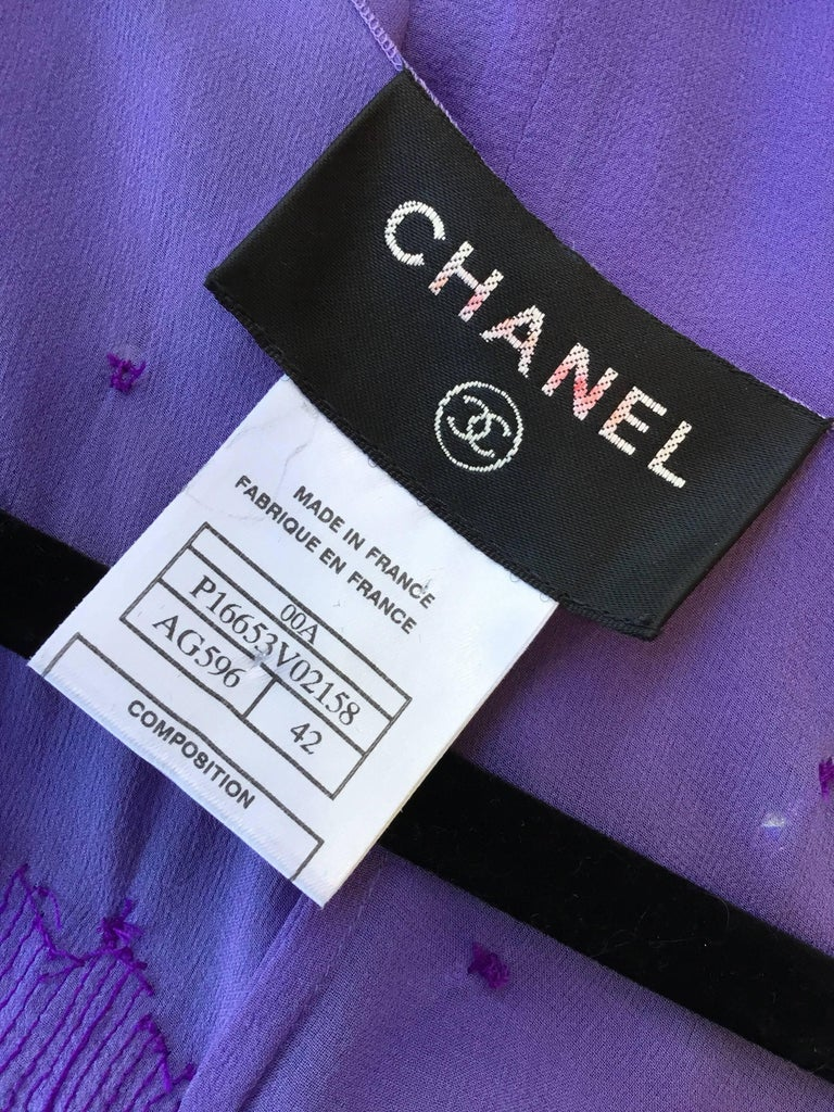 Chanel Lavender Silk Beaded Jumpsuit and Tunic Set, Ready to Wear Fall 2000   For Sale 3