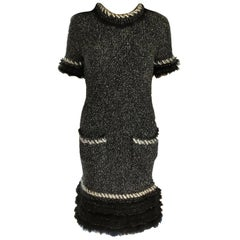 Chanel Fall 2010 Black & White Tweed Cashmere Fur Fringe Dress FR 38/ US 4 6