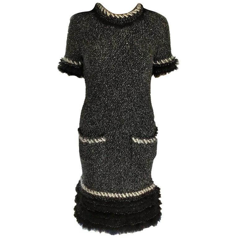 Chanel Fall 2010 Black & White Tweed Cashmere Fur Fringe Dress FR 38/ US 4 6 For Sale