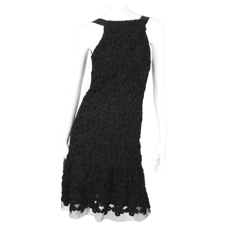 Chanel Fall/Winter 2005 Black Floral Crotchet Camelia Wool Mesh Dress For Sale