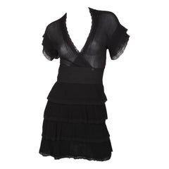 Chanel Fall/Winter 2007 black layered short sleeve dress