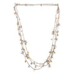Chanel Fall/Winter 2007 Silver Gold Multi-Strand Chain Hearts Clover Faux Pearl