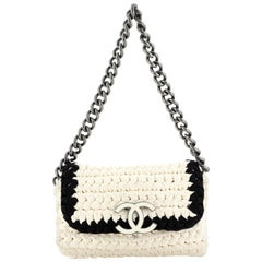 Chanel Fancy Crochet Flap Bag Fabric Small