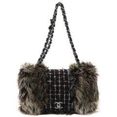 Chanel Fantasy Flap Bag Fur and Tweed Medium
