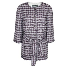 Chanel Fantasy Fringe Lesage Tweed Houndstooth Belted Jacket Coat
